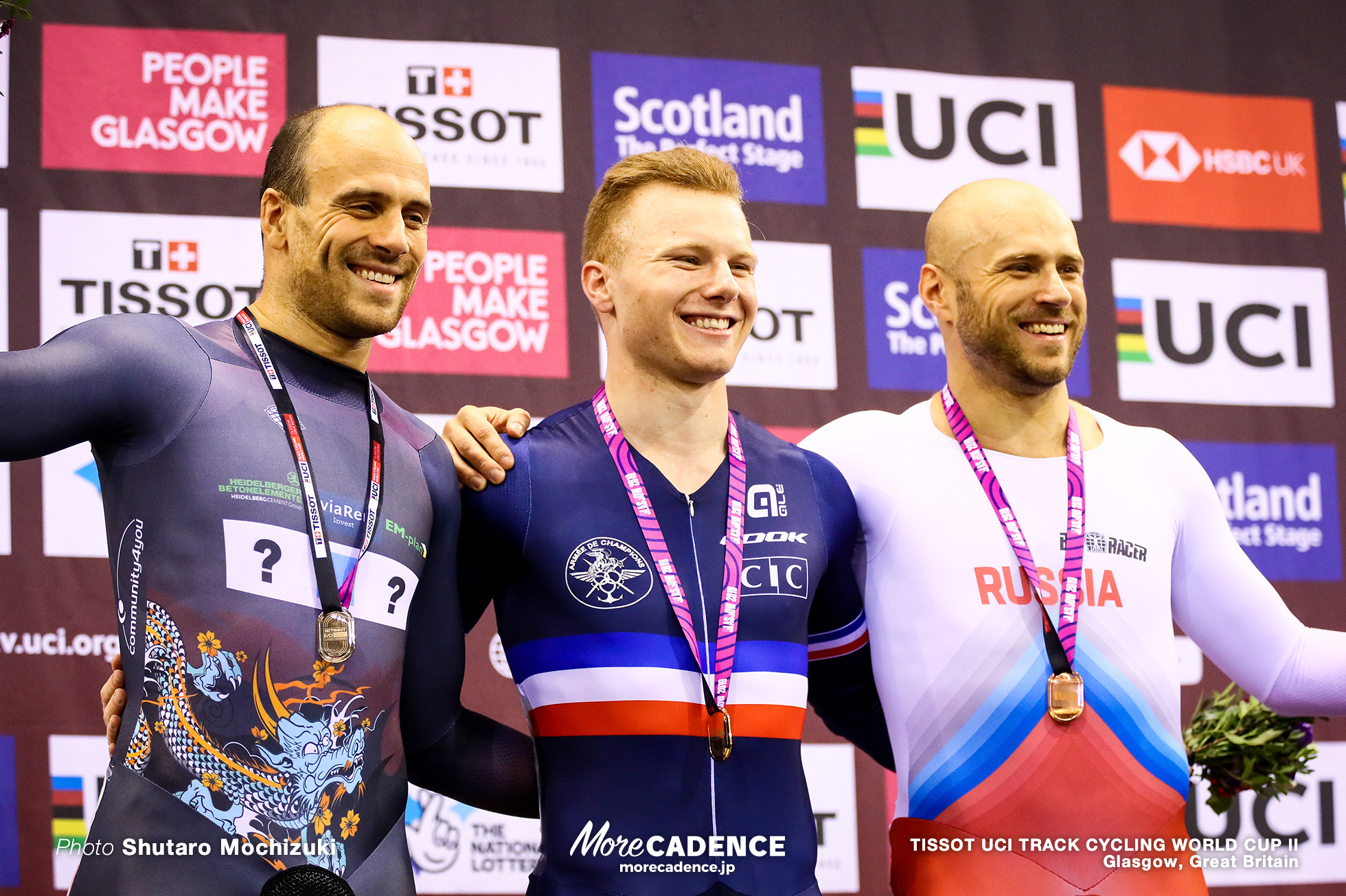 Final / Men's Keirin / TISSOT UCI TRACK CYCLING WORLD CUP II, Glasgow, Great Britain, Sébastien VIGIER セバスチャン・ビジエ Maximilian LEVY マキリミリアン・レビ Denis Dmitriev デニス・ドミトリエフ